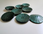 Set of 8 unusual teal coloured, textured 1960s buttons