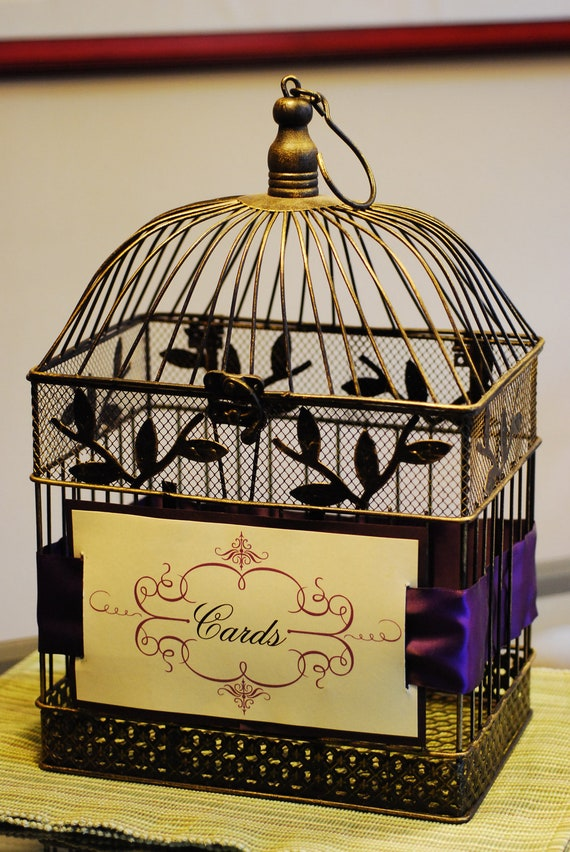 Antique-style Bird cage Wedding Card holder - Custom Design and Ribbon Color