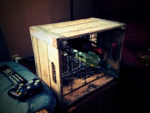Vintage Wooden Milk Crate and Wine Rack