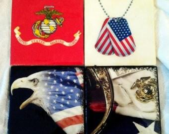 US Military - Marine Coasters - Tile coasters with custom images
