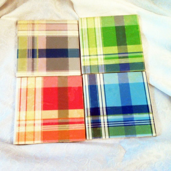 Colorful Plaid Coasters - Spring Pop of color, trendy picnic inspired