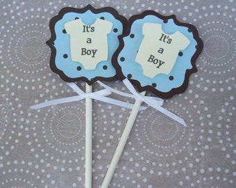 Handmade Blue and Brown Polka Dot Onesie Baby Shower Boy Cupcake Topper