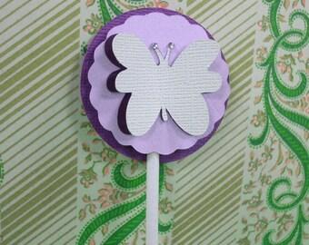 Handmade Purple Violet Butterfly Cupcake Topper