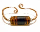 Cooper  Wire Wrapped Bracelet 7 inches  with art handmade glass brown chocolate darkgoldenrod white
