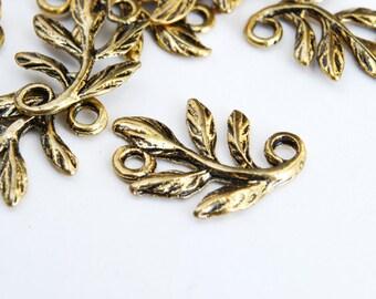 Gold Leaf Connectors, Branch, Antiqued Gold, 15 mm - 20 pieces