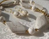 Womens Jewelry,,White Necklace, Earring set, Creamy Howlite,  Gold Veins Diamond Shape