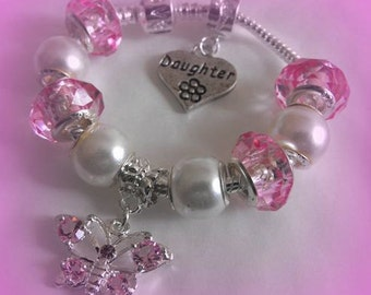 Personalised girls Grand Daughter Sister Niece Butterfly Charm bracelet gift box