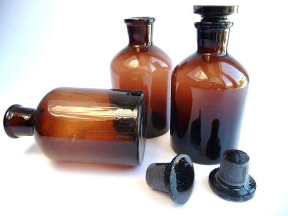 Old Pharmacy Bottle, Brown Glass, Vintage