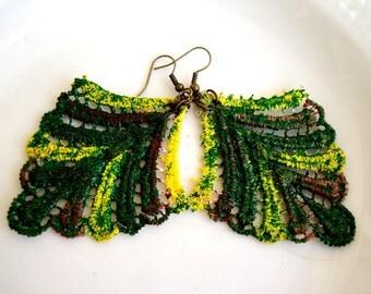 Green Lace Earrings Leaf Earrings Statement Earrings Feather earrings Fashion Earrings