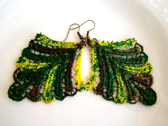 Green Lace Earrings Leaf Earrings Statement Earrings Feather earrings Fashion Earrings
