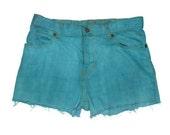 Teal Blue High Waisted Shorts Denim Jean Shorts Cut Offs Colored Cuffed Frayed Custom Size
