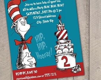 Dr. Suess The Cat in the Hat DIY Printable Invitation by Carta Couture