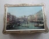 Vintage Ponte Di Rialto by Canaletto, Rome Italian Tin Box Artistic Box Pre-90s Biscuit Tin Collectables Scenery