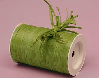 Olive Green Matte Raffia Ribbon - 10 Yards - Many Colors Available