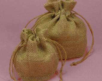 "Natural Jute Drawstring Bag - 4"" x 4"" x 3"""