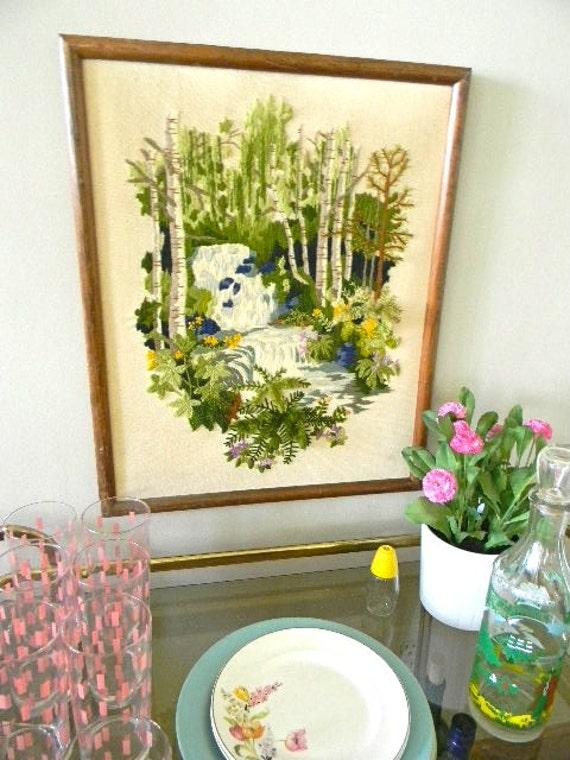 vintage crewel waterfall birch tree and ferns fiber artwork