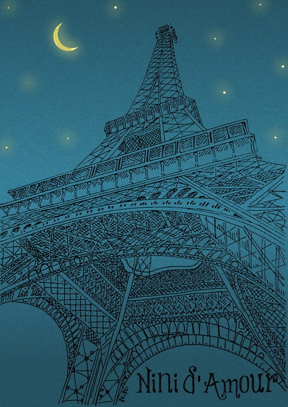 Eiffel Tower Paris Architecture Night Street-Art Download Image Print-Drawing Illustration Ink-Turquoise Blue-Home Decor-Ecological No 18
