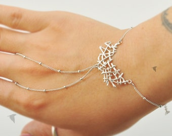 Organic Twig Mesh, Boho, Simple Chic, Gypsy, Gladiators Hand Bracelet Finger Bracelet Slave Bracelet