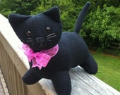 ON SALE Fleece Black Cat Plushie - MauveMoose