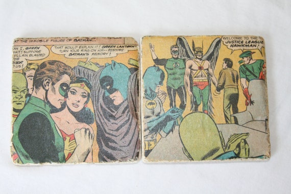 Retro 1960's Justice League handmade marble coasters with full cork bottom.
