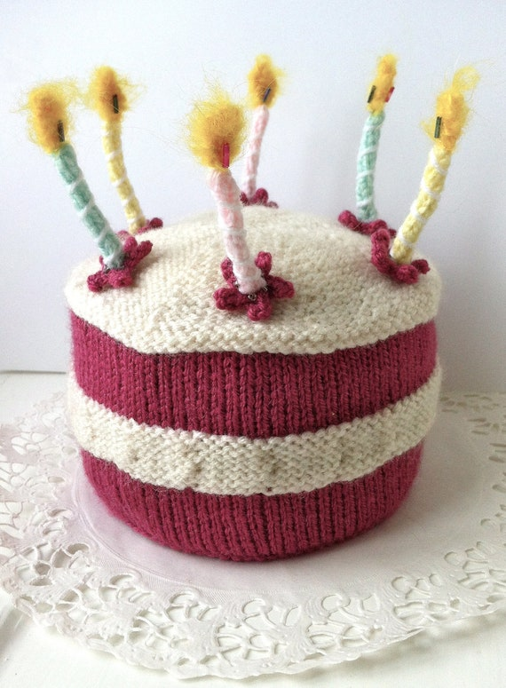 Birthday Cake with Lit Candles Knitting Pattern