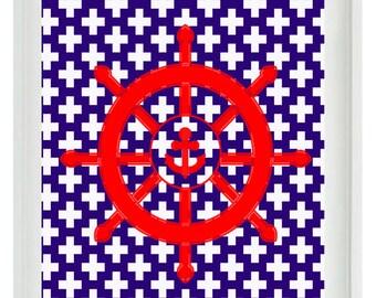 Nautical Beach Ship Wheel Wall Art Print  - Red Blue White - Nursery Children Room Home Decor