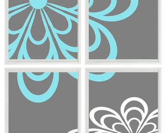 Flower Wall Art Print    - Aqua Gray White Decor Nursery Girl - Wall Art Home Decor