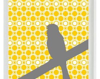Bird Nursery Wall Art Print - Yellow Gray Decor  - Children Girl Room Home Decor  Print