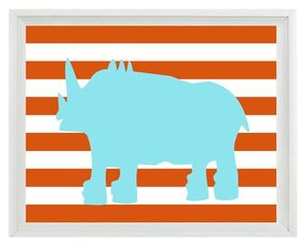 Rhino Safari Wall Art Print  - Nursery Children Kid Room Aqua Orange Stripes Home Decor