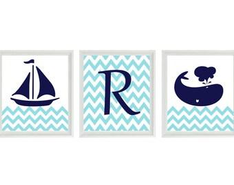 Nautical Sailboat Whale Initial Chevron Wall Art Print  - Personalize Navy Blue Aqua White - Nursery Children Room Home Decor