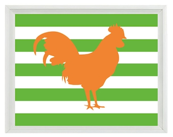 Rooster Farm Animal Silhouette Art Print Set - Orange Green Stripes Kitchen Nursery Children Kid Room Wall Art Home Decor   Print