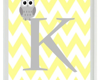 Chevron Initial Letter Art Print - Owl Nursery Yellow Gray Personalized Custom  - Wall Art Home Decor  Print