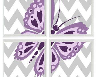 Butterfly Art Print Set - Girl Room Nursery Purple Lavender Gray Chevron - Kid Teenager Wall Art Home Decor    Prints