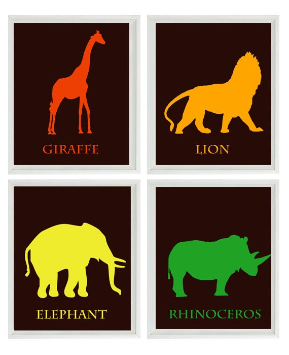 Nursery Art Safari Prints  - Elephant Giraffe Lion Rhinoceros African Animals - Children Room Home Decor