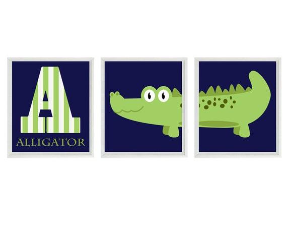 "Alligator Nursery Wall Art Print Set ()  - Letter ""A"" Navy Blue Green Gator Decor - Children Kid Baby Boy Room - Home Decor"
