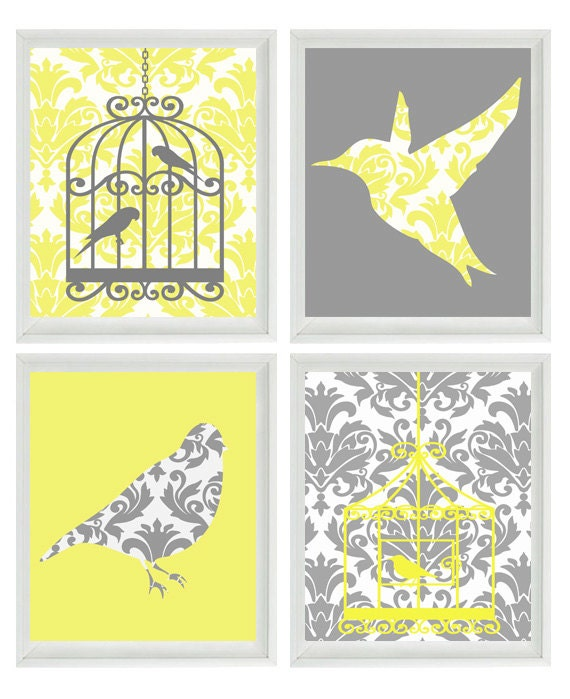 Birds Wall Art Print Yellow Gray Decor Damask Bird Cage