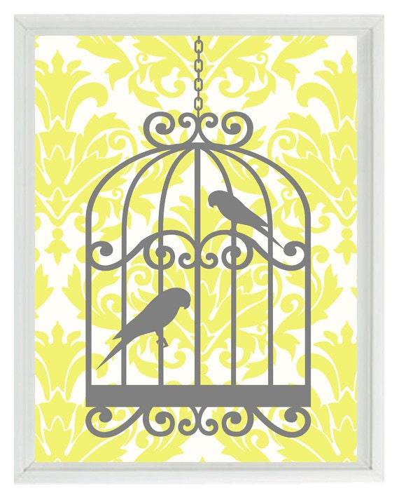 birds wall art print yellow gray decor damask bird cage. Black Bedroom Furniture Sets. Home Design Ideas