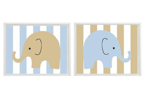 Elephant Nursery Wall Art Print Tan Blue White Stripes Decor