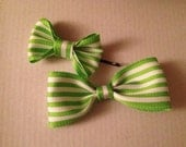 Little Girl Hair Accessory- Two Green & White Striped Bow Bobby Pins