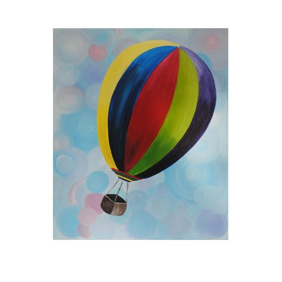 "Brightly Painted Hot Air Balloon soaring through swirly clouds, Original Painting, Baby Art, Nursery Decor, 20x24"" Stretched Canvas"