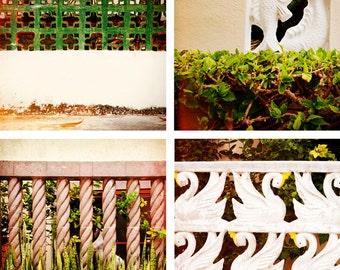 SALE - Mexican Fences, Fine Art Photographs, Four 5x5 size prints