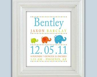 Personalized Elephant Birth Announcement Printable Wall Art Digital JPEG File