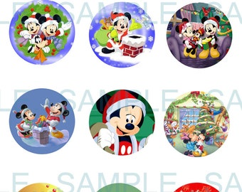 INSTANT Download. Mickey Mouse Christmas Bottle Cap Images- DIGITAL or PRINT-Tags-Cupcake Toppers-Scrapbooking and More.