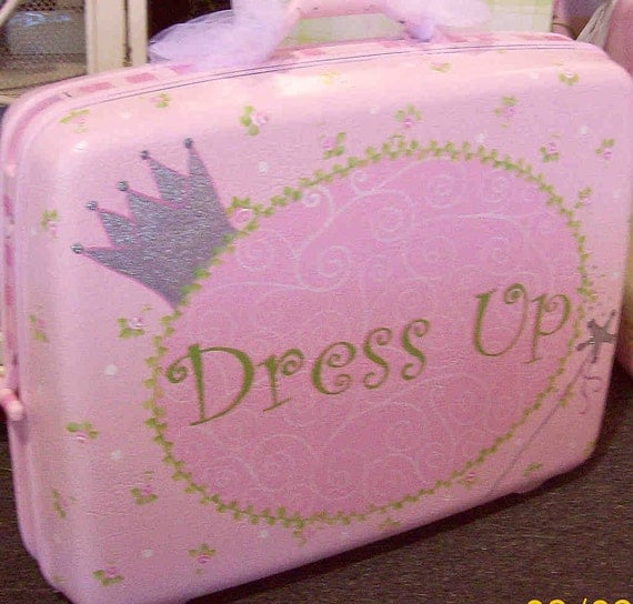 Dress up Suitcase Pink Girls Princess crown by HissyFitsbyKelli