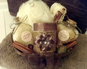 Beautiful Spa Gift Basket with Handmade Bath Salts, Decorative Candle, and More