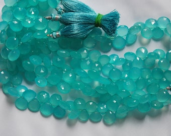 4 Inch Strand, AAA Peru Aqua. Blue Chalcedony Faceted Heart Briolettes 10mm Large Size