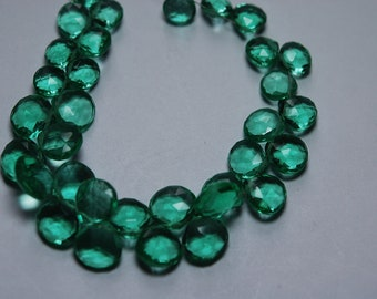 8 Inch Strand,Emerald Green Quartz Faceted Heart Shape Briolettes,Size 9 mm Approx