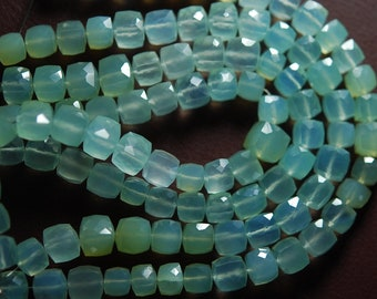 7 Inches, Sky Aqua Green Chalcedony Faceted Box Shape Briolettes 8-10mm