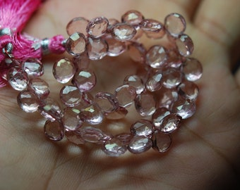 8 Inch,  PINK Mystic  Micro Faceted Heart  Shape Briolettes 7-8mm aprx