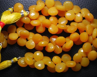 7 Inch Strand,Superb-Finest Quality Mango Chalcedony Faceted Heart Shape Briolettes, 11-12mm size,